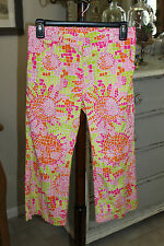 Lilly Pulitzer Capris, Colorful Sun Design, Cotton Blend, Sz 0, EUC