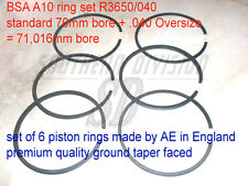 Piston ring set BSA A10 AE made in England R3650 .040 Kolbenringe 67-311 67-314