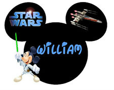 DISNEY STAR WARS VACATION  MICKEY  PERSONALIZED FABRIC/T-SHIRT IRON ON TRANSFER