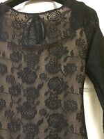 Black Stretch Lace Plunge Back Cocktail Dress With Nude Lining Uk 8 NEW RRP £55