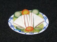 SANDWICHES ON PAPER PLATE Dollhouse Miniature Food Dinner 1:12 Scale Kitchen