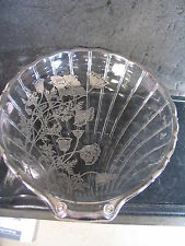 Silver Overlay SHELL CANDY DISH Poppy Design FLoral