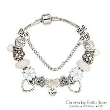 925 Silver Crystal Heart Charm Bracelet Rhinestone Charms Bangle Jewelry Gift