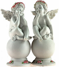 Set Of 2 White 19cm Cherub Angels Figurines On Sphere Ball Ornaments