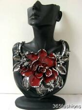 STATEMENT CHUNKY VINTAGE STYLE ENAMEL FLOWER FAUX CRYSTAL BIB NECKLACE RED