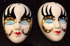 Harlequin CLOWN Black Gold Top LOT of ( 2 ) Brooch PINS Theater Drama Masks NOS