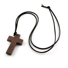 De madera largo collar de cruz para mujeres / Chicas-religioso, cristiano