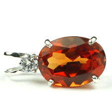 SP019, Created Padparadsha Sapphire , 925 Sterling Silver Pendant