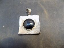 Vintage Navajo  black onyx sterling silver pendant pin Native American jewelry