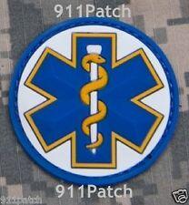 EMT Star of Life EMS Rescue Paramedic Medic Aesculapius PVC Hook Patch - Color