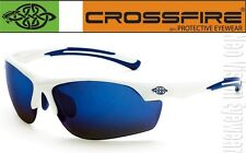 Crossfire AR3 White Blue Mirror Lens Safety Glasses Sunglasses Shooting Z87.1