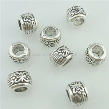 16203 50PCS Alloy Antique Silver Vintage Mini Flower 7mm Spacer Tube Beads Charm