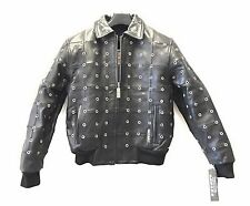women's black lambskin leather bomber jacket with zipout liner rivets size 4X