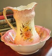 RS PRUSSIA REPRODUCTION CHILDRENS PITCHER WASH BOWL SET PINK PEACH ROSES GOLD