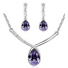 Elegante VIOLA A GOCCIA BRIDAL Crystal gioielleria Set Pendente Orecchini Collana s825
