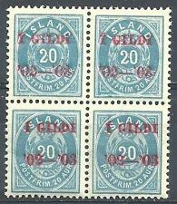 Iceland 1902 Sc# 47 Gildi on 20 block 4 MNH