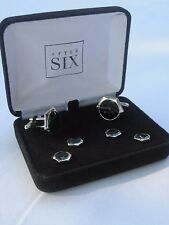 After Six Cufflinks & Studs, Hexagon-Shaped, Silver-Tone and Onyx, NOS