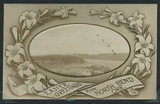 Rare OR North Bend RPPC 1910's EASTER GREETINGS Oval Inset EARLY TOWN VIEW Mssg
