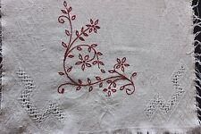 "American Antique Victorian Red Work Drawn Linen Center Cloth c1880~13""LX19""W"