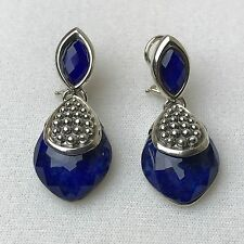 NEW LAGOS MAYA Double Drop Teardrop Silver Caviar Blue Lapis Earrings $495