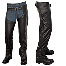 GENUINE LEATHER MENS SPANDEX CHAPS WITH FRONT BUCKLE AND BACK LACING MOTORCYCLE