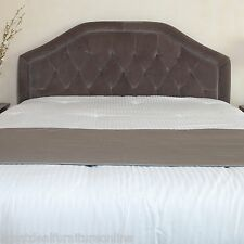 Contemporary Full/Queen Size Grey Suede Headboard w/ Button Tufted Accent