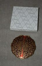 RARE STRATTON MID CENTURY POWDER COMPACT W/RUBY & GOLD FLORAL DECORATION W/BOX
