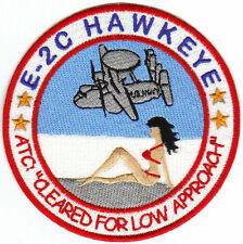 USAF PATCH, E-2C HAWKEYE, RED BIKINI ON THE BEACH     y