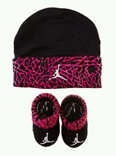 Nike Air Jordan Girls or Boys Infant Hat & Booties Pink BL Set Size 0 - 6 Months