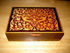 Vintage Wood Inlaid Marquetry Box Hinged Winged Griffins