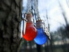 Pair of Health AND Mana Potion Glass Vial Tiny Bottle Necklaces (Red & Blue)