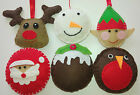 6 handcrafted FELT XMAS TREE DECORATIONS Pudding Santa Rudolph Elf Snowman Robin