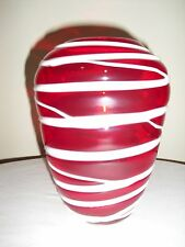 RED Art Glass VASE with Applied White Decoration