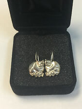 Sterling Silver Signed M Cat Dangle Hook Earrings