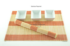 6 Bamboo Placemats Handmade Table Mats, Red-Cream (Natural Brown) , P004