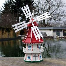 GARTENWINDMÜHLE OLIVIA 80 cm rot weiß Garten Deko Mühle Windmühlen Dekoration