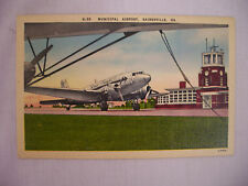 VINTAGE LINEN POSTCARD AIRPLANES AT MUNICIPAL AIRPORT IN GAINESVILLE GEORGIA
