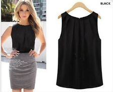Sexy Women Vest Summer Loose Solid Sleeveless Casual Tank T Shirt Blouse Black L