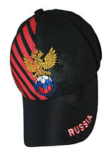RUSSIA BLACK WITH RED STRIPES 2- HEADED EAGLE  FLEXFIT HAT CAP .. NEW