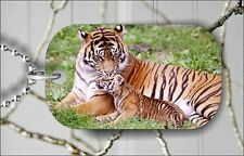 TIGER AND BABY TRUE MOTHER LOVE DOG TAG PENDANT NECKLACE FREE CHAIN -jkh7Z