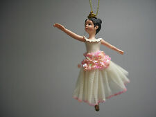 Ballet Ballerina Dancer Black Hair White Pink Sequin Dress Crown Ornament NWT