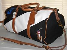 POLO RALPH LAUREN Canvas Leather Big Pony Duffle Bag, Travel Gym Carry On, BLACK