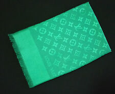 NEW Authentic LOUIS VUITTON Monogram Logo LV Green Silk Wool Shawl Scarf M75498
