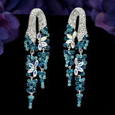 New Fashion Rhodium Plated Blue S Crystal Rhinestone Drop Dangle Earrings 02931