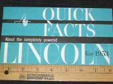 1953 Lincoln Cosmo & Capri Quick Facts Sales Brochure