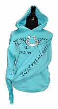 Horseshoe Horse Hoodie,LIVE for the RIDE, S,cotton, womens, teal,sweatshirt,