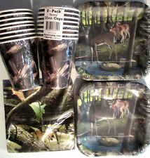 HUNTING CAMO DEER Birthday Party Supply Set  w/Plates, Napkins, Cups & Invites