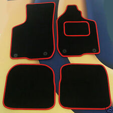 SEAT LEON 05 - 09 +  FR & CUPRA.  BLACK QUALITY CARPET WITH RED EDGE + 4 X CLIPS