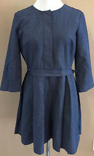 Gap Navy Blue w/ White Polka Dots Pleated Front A Line Dress Women's Size 8