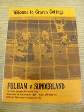 16/11/1974 Fulham v Sunderland  (Token removed). Item appears to be in good cond
